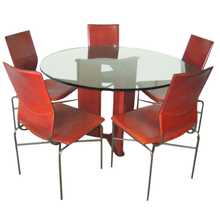 Stitched leather dining set matteo grassi circa 1970s for 1970 dining room set