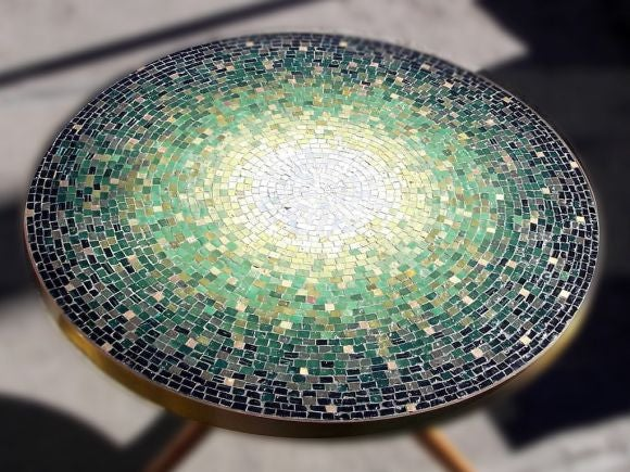 Magnificent Vladimir Kagan Mosaic Low Table With Brass Banded Glass Mosaic  Top, Walnut Tri