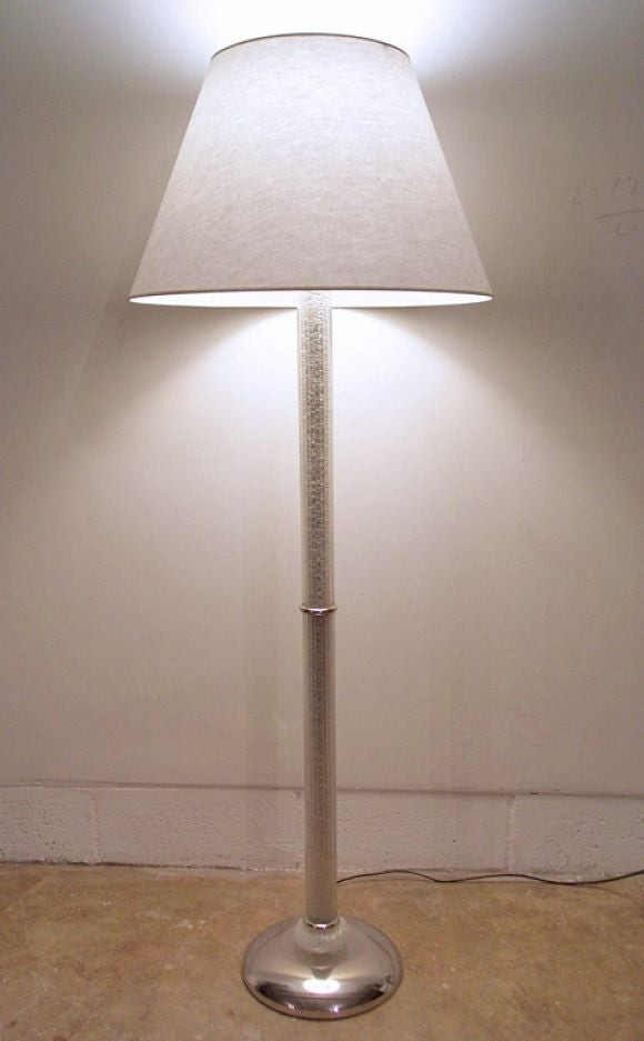 Silver glass murano floor lamp at 1stdibs for Silver mirror floor lamp