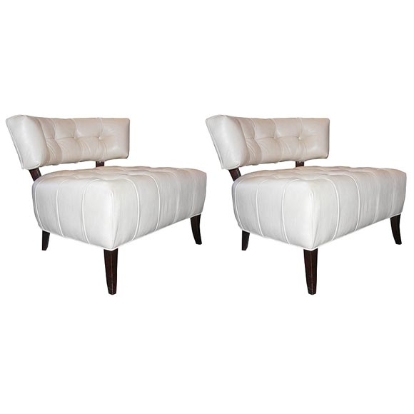 Pair of White Leather Slipper Chairs attributed to Billy