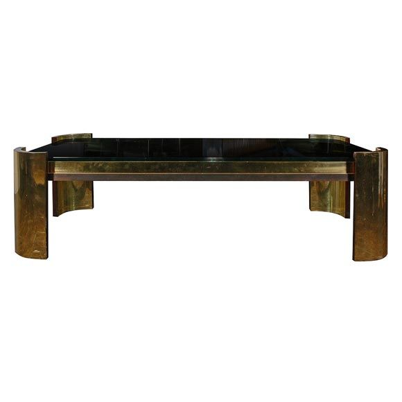 Bronze And Glass Coffee Table By Karl Springer At 1stdibs