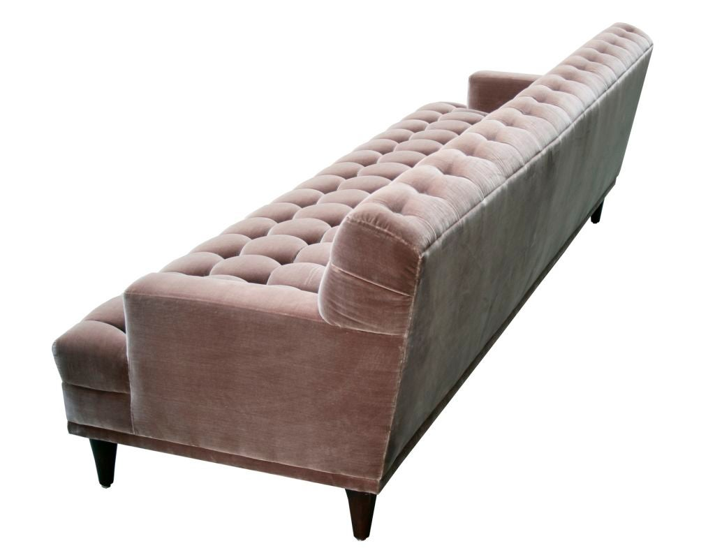 Mid Century Tufted Velvet Sofa at 1stdibs