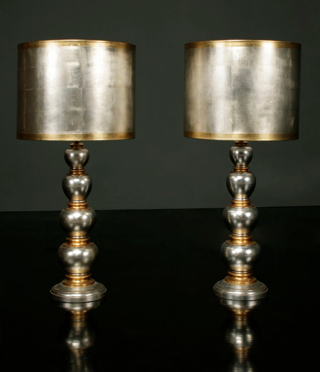 Pair Of Gold And Silver Ball Lamps By James Mont At 1stdibs