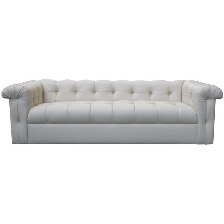 Small tufted leather sofa by edward wormley for dunbar at for Small tufted sofa