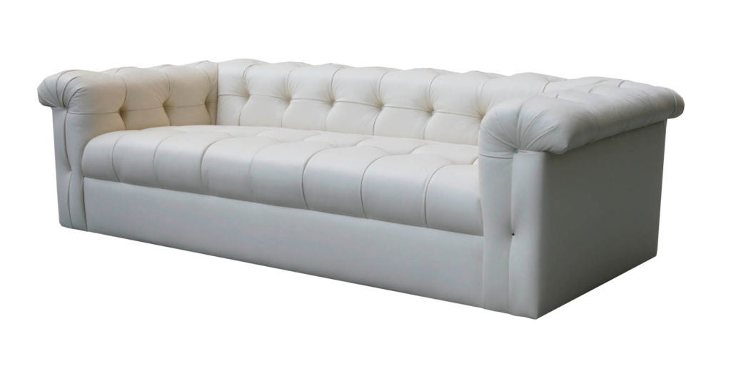 small tufted leather sofa by edward wormley for dunbar at