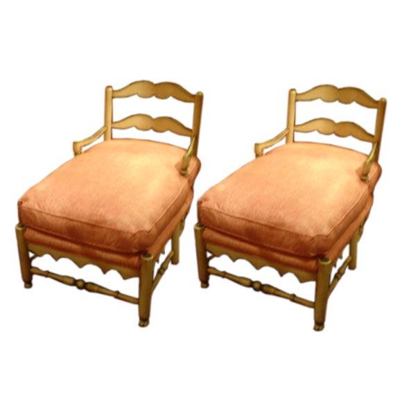 A Pair Of French Country Short Chaises Lounges At 1stdibs