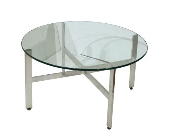 stainless and glass coffee table in style of mies van der. Black Bedroom Furniture Sets. Home Design Ideas