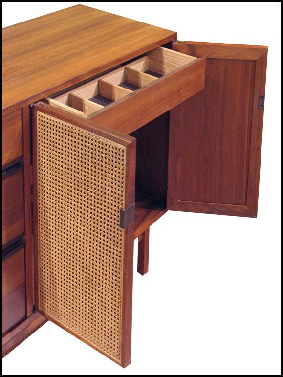 Teak sideboard with rattan doors at 1stdibs for Sideboard rattan