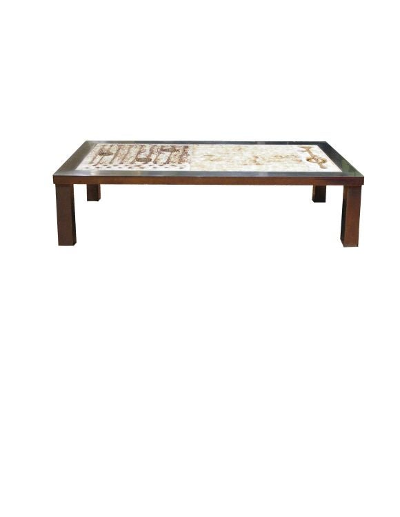 Coffee Table With Ceramic Inset And Stainless Steel Frame For Sale At 1stdibs