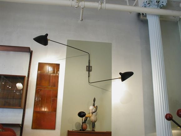 Serge Mouille Wall Sconce With 2 Straight Rotating Arms At