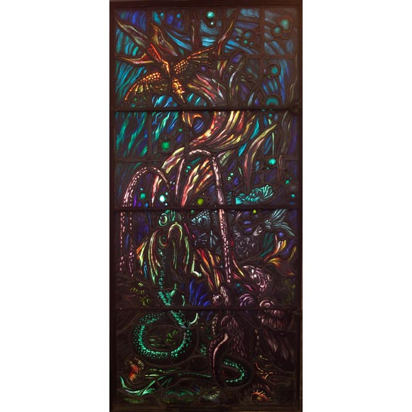 Stained-Glass Window commisioned by Gertrude Vanderbilt Whitney For Sale