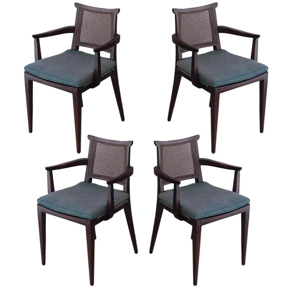 Set of Four Gaming Chairs by Edward Wormley for Dunbar For Sale