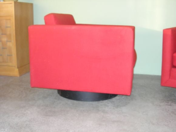 American Pair of Mod Swivel Lounge Chairs by Harvey Probber For Sale