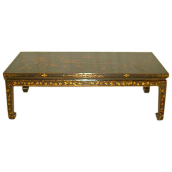 Black Lacquer Low Table W Gold Gilt Landscape Motif At 1stdibs
