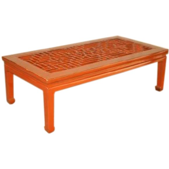 Red Lacquer Low Table With Lattice Fret Work Top At 1stdibs
