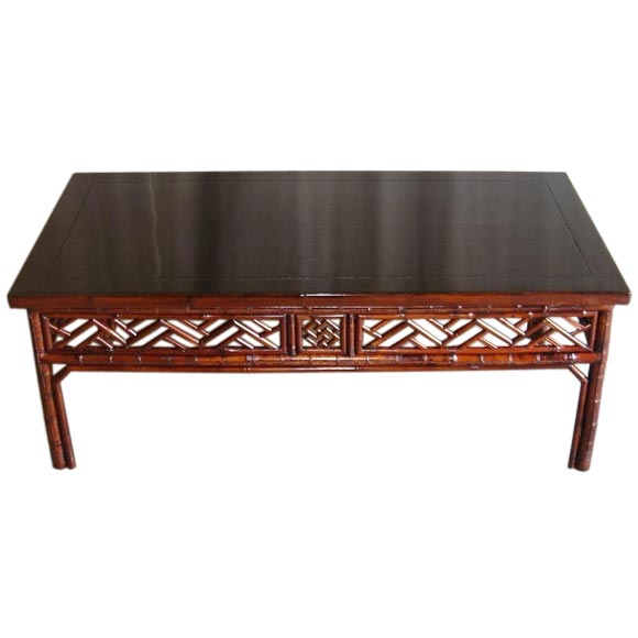 Bamboo Low Table With Black Lacquer Top At 1stdibs