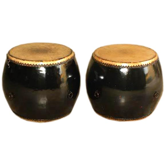 A Pair Of Black Lacquer Drums Stools At 1stdibs