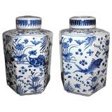 A Pair Of Hexagonal Porcelain Vases