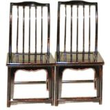 A Pair Of Black Lacquer Comb Back Side Chairs
