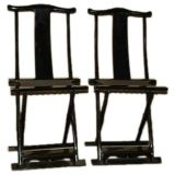 A Pair of Black Lacquer Folding Chairs