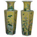 A Pair Of Porcelain Hexagonal Vases