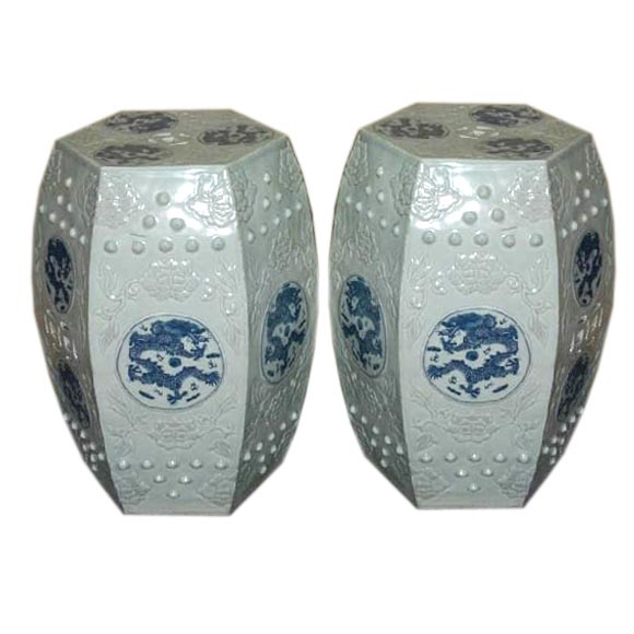 A Pair Of Porcelain Hexagonal Stools At 1stdibs