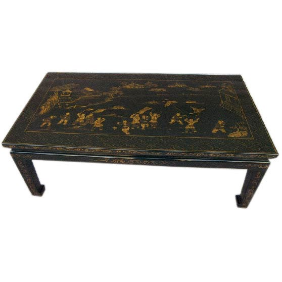 Black Lacquer Low Table With Gold Gilt Motif At 1stdibs
