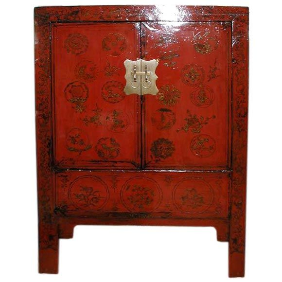 Fine Red Lacquer Cabinet With Gold Gilt Floral Motif