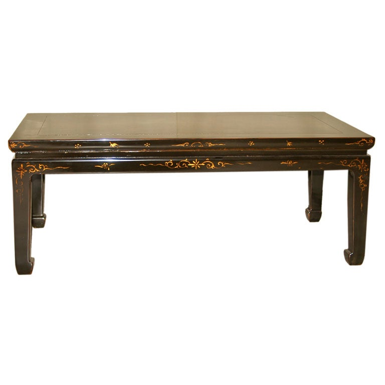 Black Lacquer Low Table With Painted Gold Gilt Motif On Top At 1stdibs