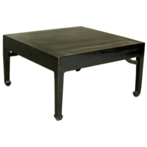 Square black lacquer low table at 1stdibs Low coffee table square
