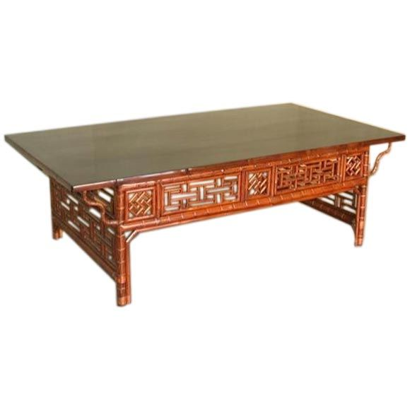 Rectangular Bamboo Low Table With Black Lacquer Top At 1stdibs