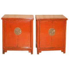 Pair of Elegant Red Lacquer Chests