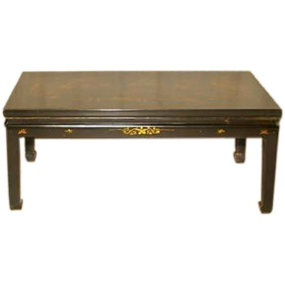Black Lacquer Rectangular Low Table With Gold Gilt Motif On Top At 1stdibs