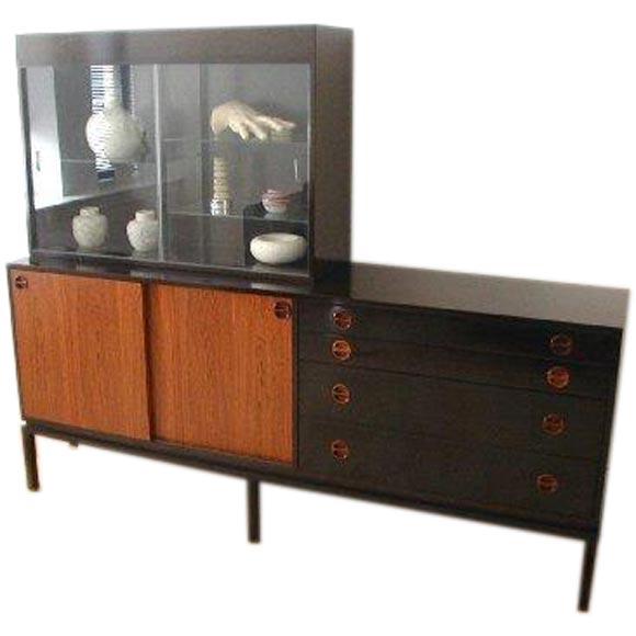 harvey probber sideboard with lighted glass display case. Black Bedroom Furniture Sets. Home Design Ideas