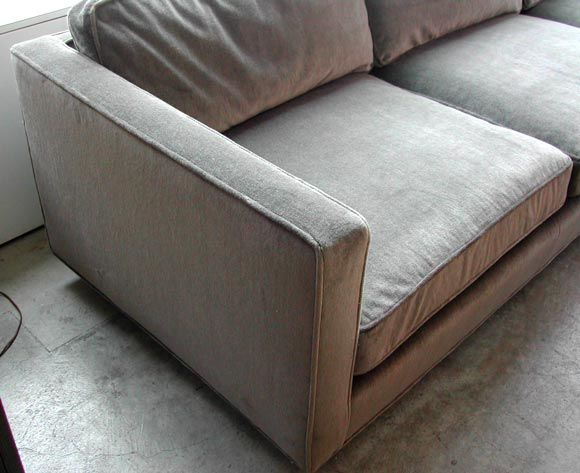 American Harvey Probber Mohair Down Filled Sofa For Sale