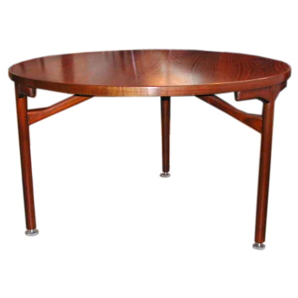 Jens Risom Round Walnut Dining Table At 1stdibs