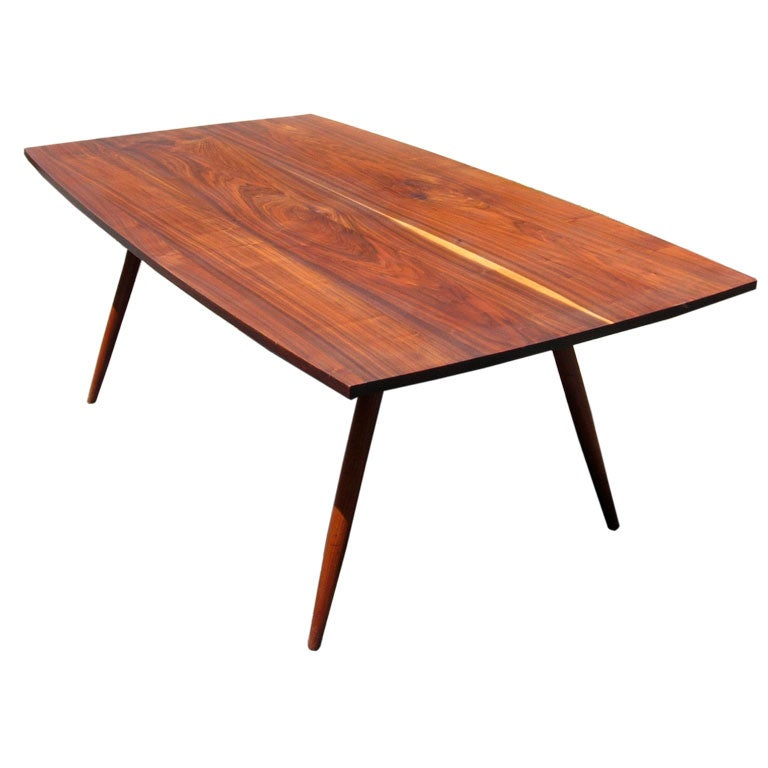 1970 39 s nakashima style craftsman solid walnut dining table for Mission style dining table