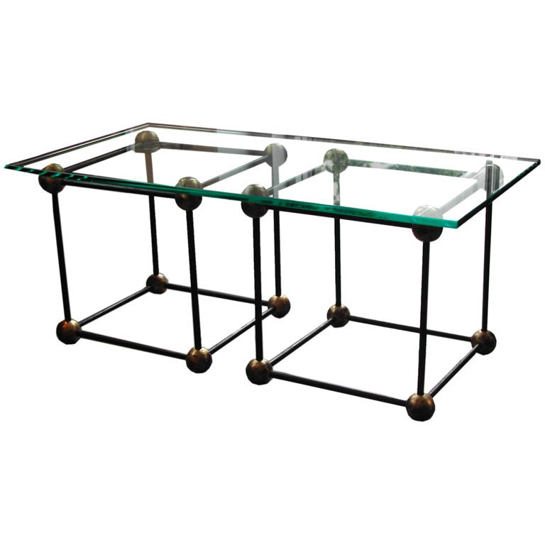 Jean royere style 2 piece coffee glass table at 1stdibs One piece glass coffee table
