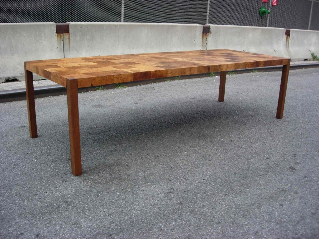 John Widdicomb Olive Patchwork Burl Parsons Dining Table At 1stdibs