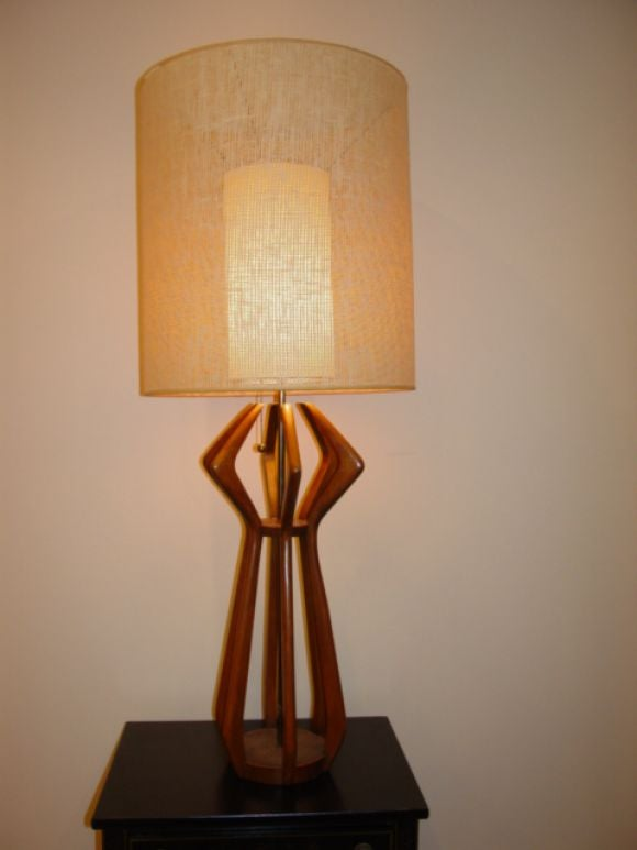 A Danish Cherry Wood Tall Table Lamp At 1stdibs