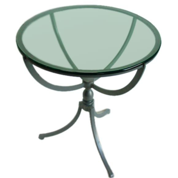 A french iron glass top occasional table at 1stdibs for Glass top occasional tables