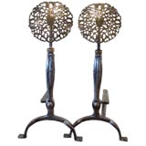 A Pair of Large Edwardian Polished  Steel  and Brass Andirons.