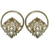 """Pair of  Cast Brass towel holders,""""Grotesque  Masks"""""""