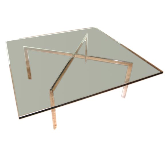 Polished Stainless Steel And Glass Coffee Table At 1stdibs