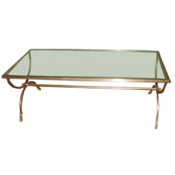 Elegant Brass And Glass Coffee Table: Elegant Polished Steele,brass And Glass Coffee Table. At