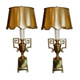 Pair of Boldly Styled  50s Brass Urn Lamps