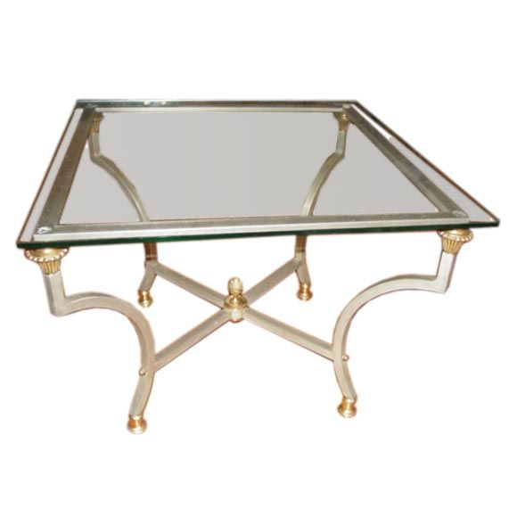 Polished Steel And Brass 1930s Coffee Table. At 1stdibs