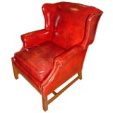 Stylish Red Leather Chinese Chippendale Arm Chair
