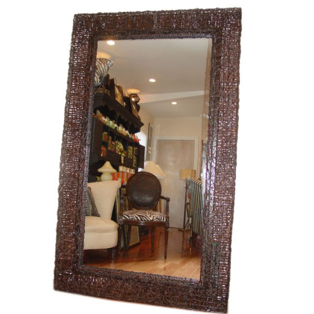 unusual large rattan mirror at 1stdibs