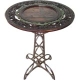 Iron/Carved Wood Occasional Table